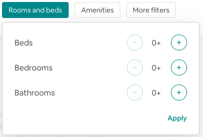 Airbnb filter options for beds, bedrooms, and bathrooms