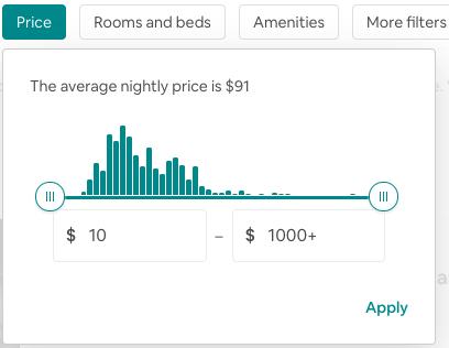 Airbnb price range slider