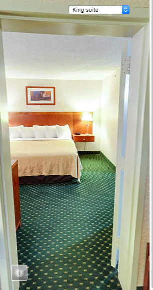 Choice Hotels Virtual Tour showing a room with a separate bedroom