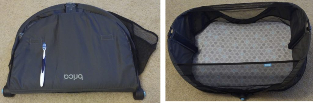 Brica Fold N' Go Travel Bassinet folded up and opened out.