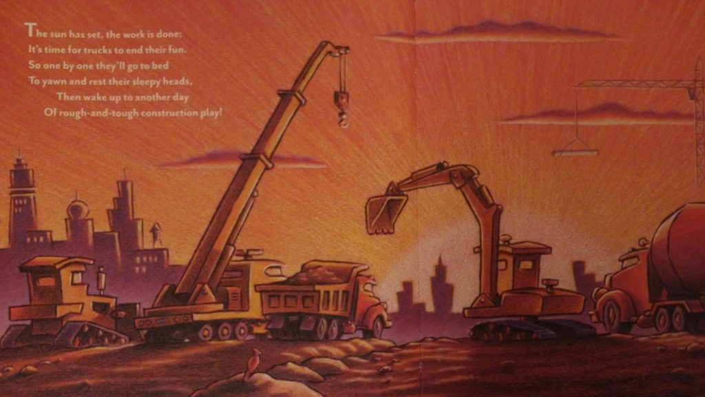 A page from Goodnight, Goodnight, Construction Site book.