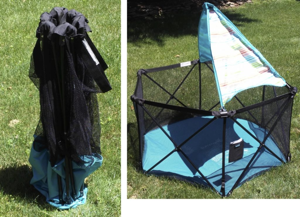 Summer Infant Pop N' Play Playard folded up and opened out.