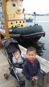Picture of our kids in front of Theodore Too Tugboat.