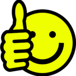 Picture of a thumbs up smiley face.