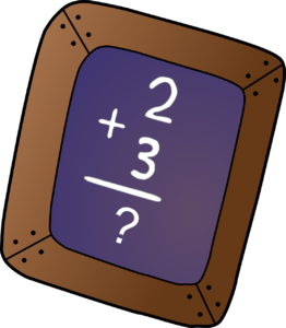 Picture showing a basic 2+3 arithmetic problem.