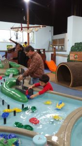 Picture of the water play area inside the Delaware Children's Museum at the Wilmington Riverfront.