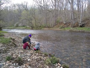 Picture of my sons and me playing by the water at White Clay Creek State Park.