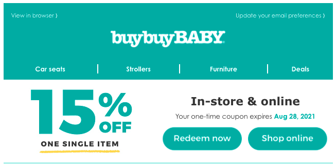 Picture showing a buybuy Baby 15% off coupon.